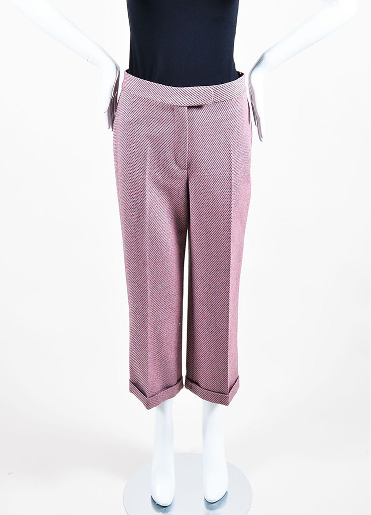 Pink and Multicolor Christian Dior Wool Stripe Wide Leg Trouser Pants Frontview