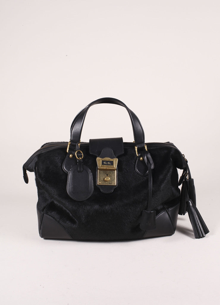 "Gucci Black Pony Hair Leather Tassel ""GG"" Satchel Bag Frontview"