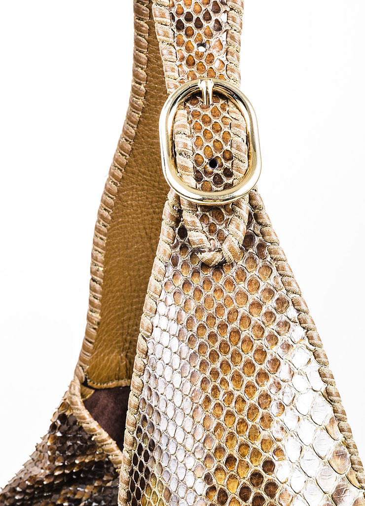 "Brown Gucci Python Leather ""New Jackie"" Hobo Shoulder Bag Detail 2"