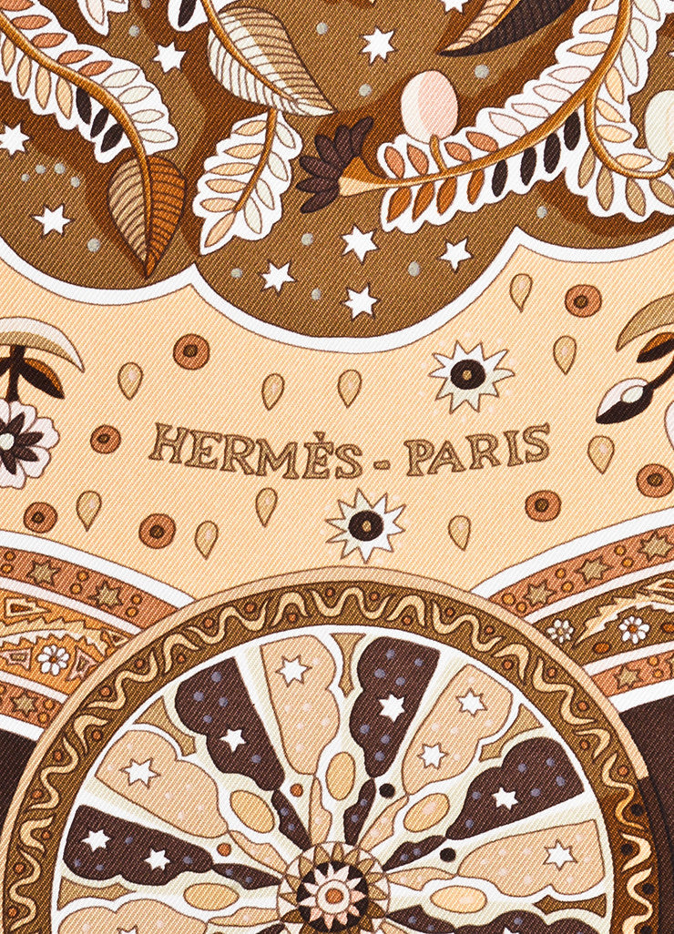 "Hermes Brown and Cream Silk Printed ""Aux Portes du Palais"" Scarf Brand"