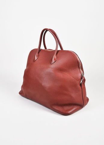 "Hermes 'Rouge Venitienne' Clemence Leather Palladium Hardware ""Bolide 45"" Bag Sideview"