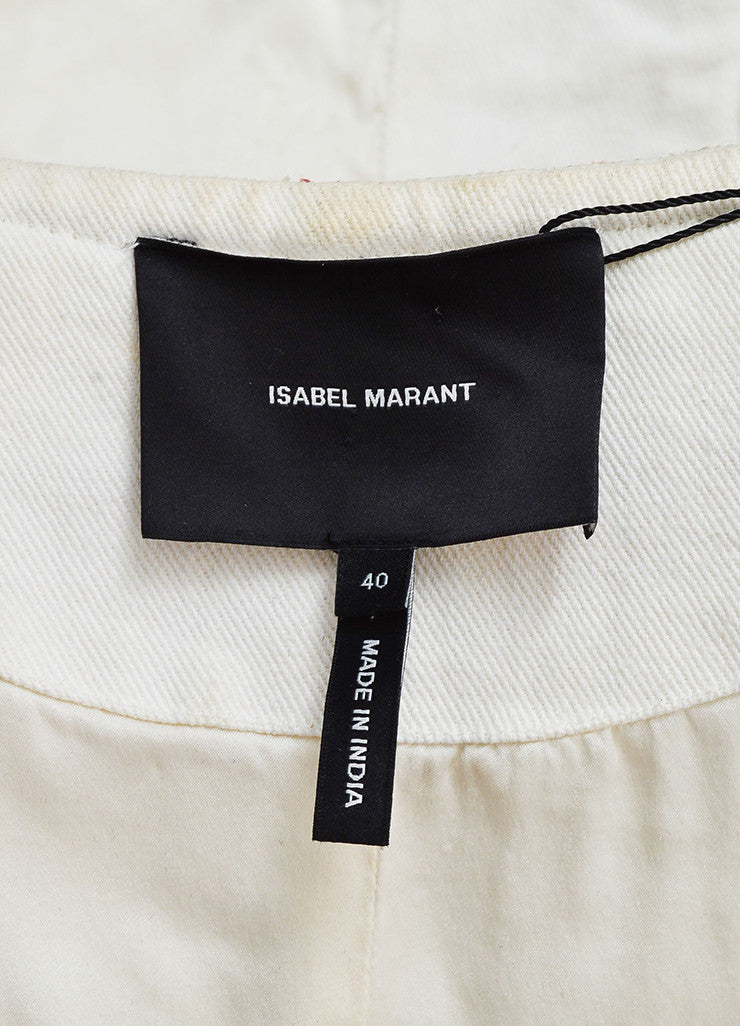 "isabel Marant Cream and Red Twill Quilted Embroidered ""Hippo"" Jacket Brand"