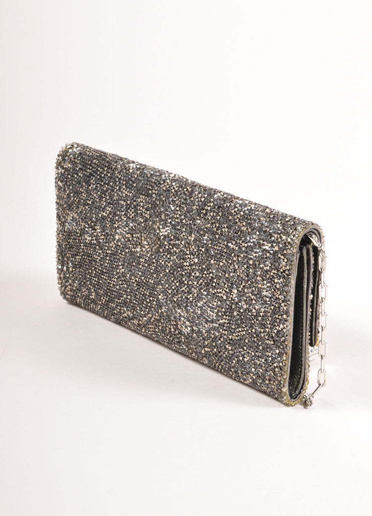 "Judith Leiber Silver Toned Satin and Crystal Encrusted ""Ritz Fizz"" Clutch Bag Sideview"