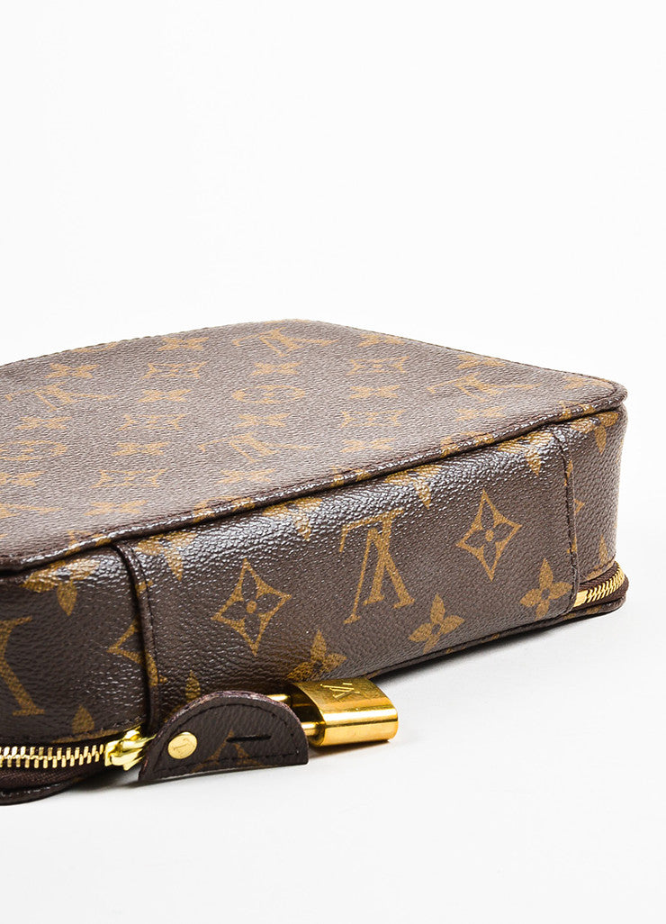 "Louis Vuitton Brown Coated Canvas Monogram ""Monte Carlo Jewelry Box'' bottom View"