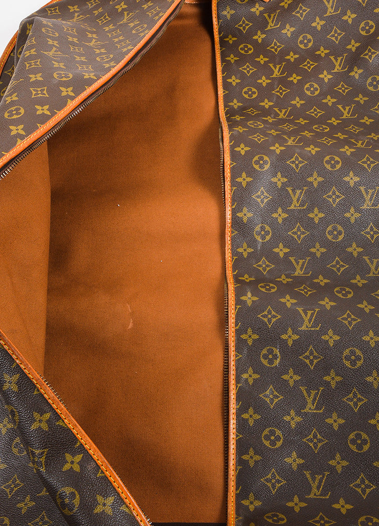 Brown and Tan Louis Vuitton Monogram Coated Canvas Leather Hanging Garment Bag Detail 2