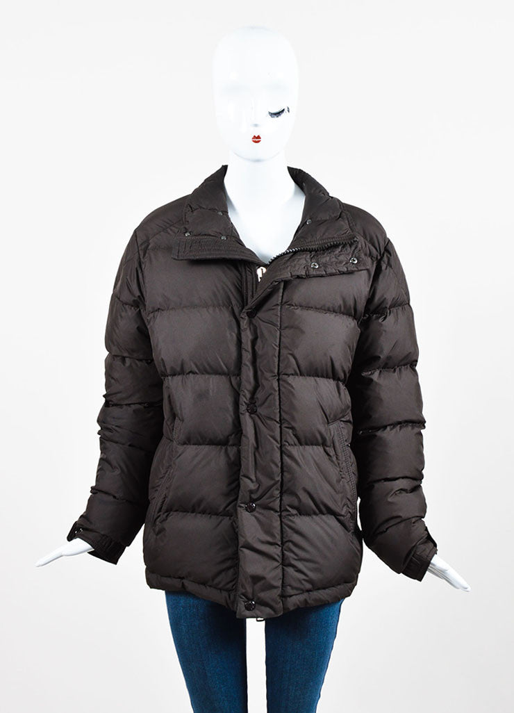 Moncler Chocolate Brown Nylon Down Quilted Puffer Coat Frontview 2
