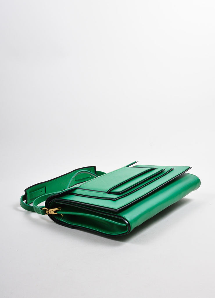 Pierre Hardy Green and Black Leather Convertible Flap Clutch Bag Bottom View