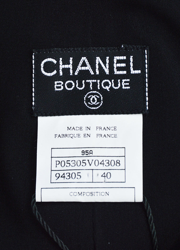 Chanel 95A Black Satin 'CC' Button Skirt Brand