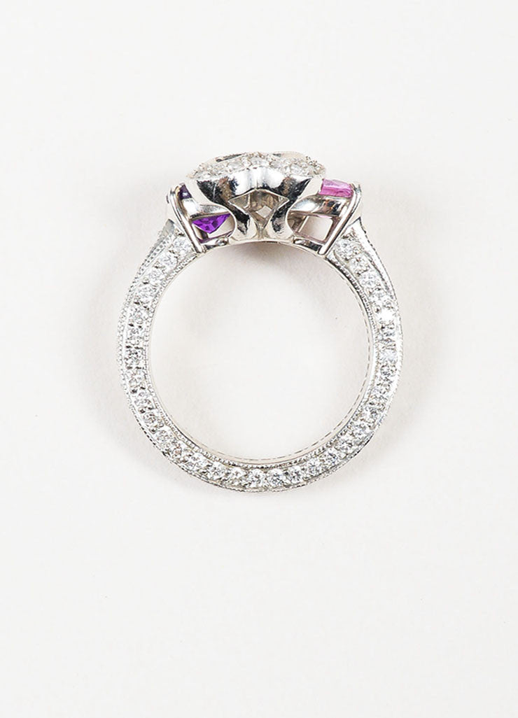 Platinum, Diamond. Pink Sapphire, and Amethyst Four Heart Ring Topview