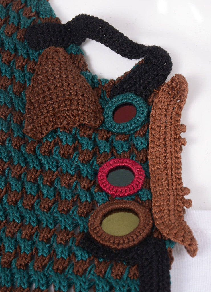 Green and Brown Prada Crochet Mirror Embellished Long Cotton Sweater