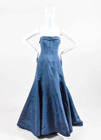 Blue Austin Scarlett Strapless Flare Train Mermaid Gown Frontview