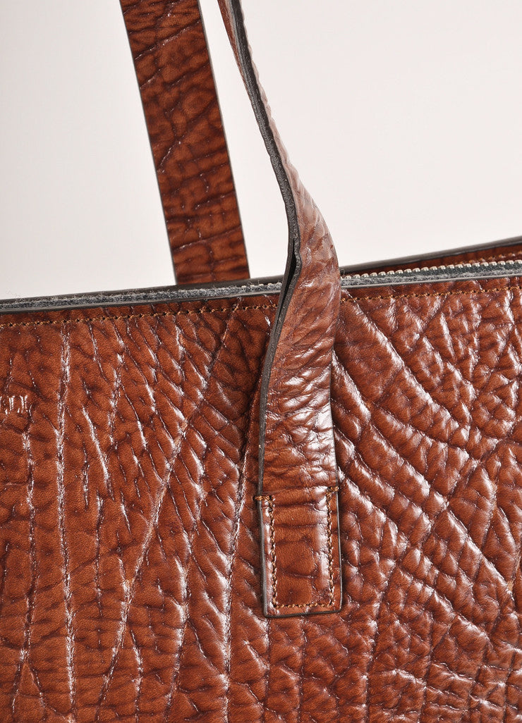 Brunello Cucinelli Brown Patent Textured Leather Oversized Zip Tote Bag Detail 2