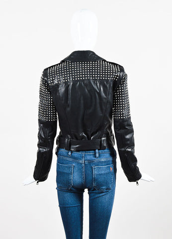 "Burberry Brit Black Leather Silver Toned Stud ""Valletort"" Zip Moto Jacket Backview"