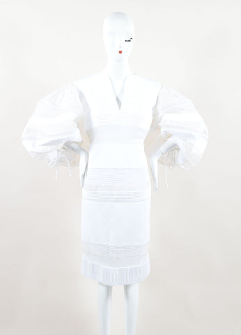 Chado Ralph Rucci White Sheer Puff Sleeve Dress Front