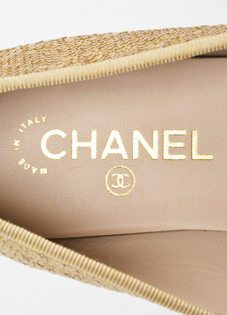 Gold Chanel Leather Cap Toe Sequin Ballet Flats Brand