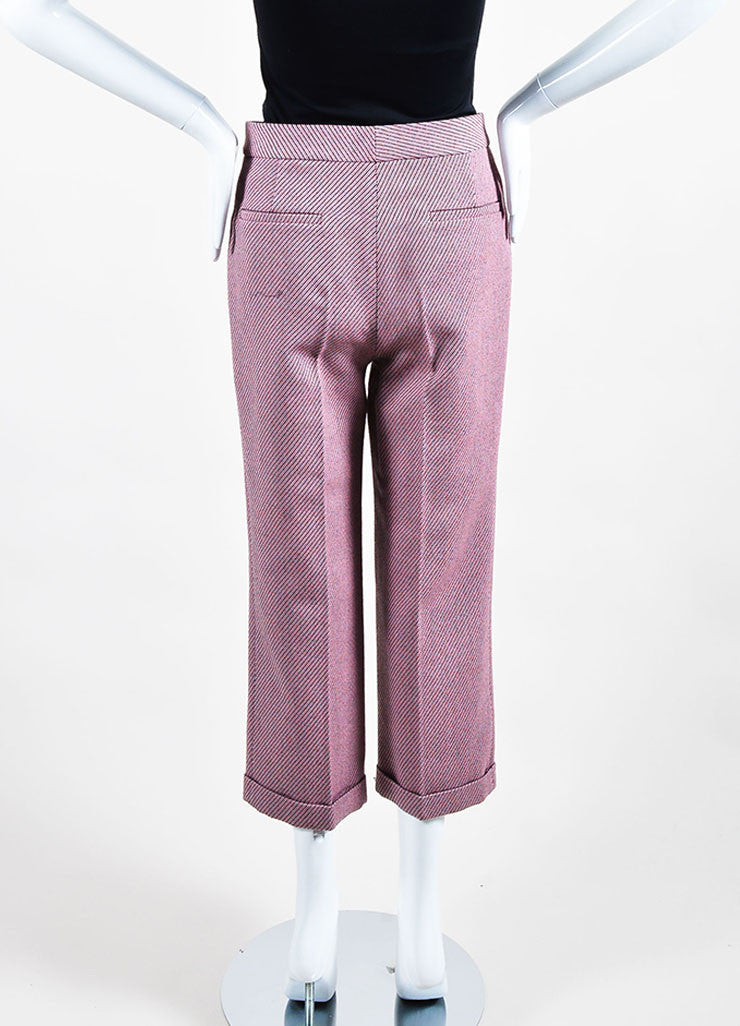 Pink and Multicolor Christian Dior Wool Stripe Wide Leg Trouser Pants Backview