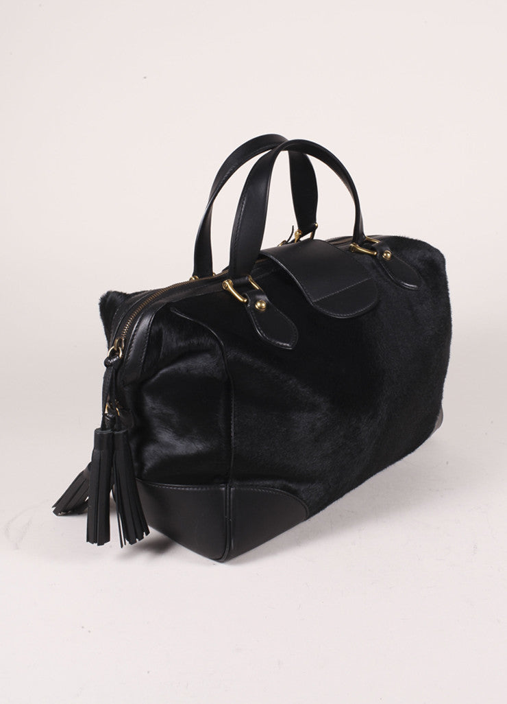 "Gucci Black Pony Hair Leather Tassel ""GG"" Satchel Bag Sideview"