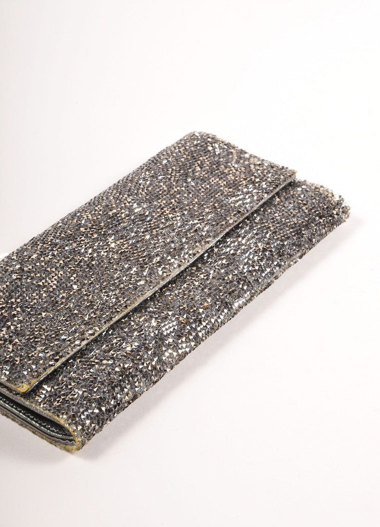 "Judith Leiber Silver Toned Satin and Crystal Encrusted ""Ritz Fizz"" Clutch Bag Bottom View"