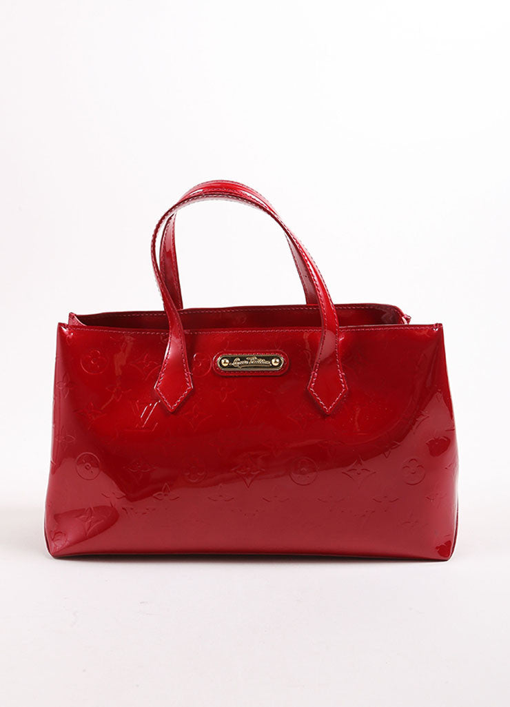 "Louis Vuitton Red Vernis Monogram Patent Leather ""Wilshire PM"" Satchel Handbag Frontview"
