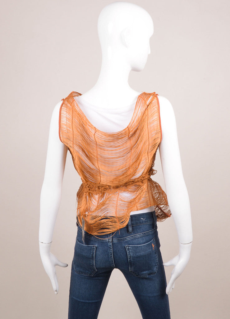 Marcia Ganem New With Tags Burnt Orange Cord Lace Vest Backview