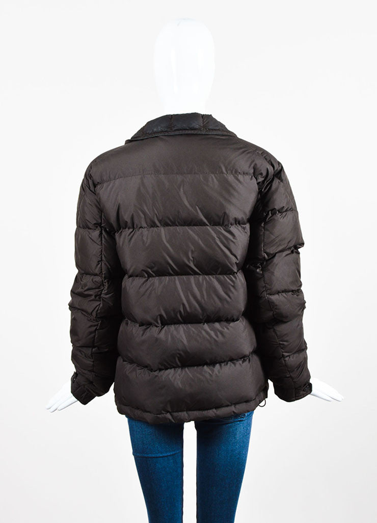 Moncler Chocolate Brown Nylon Down Quilted Puffer Coat Backview