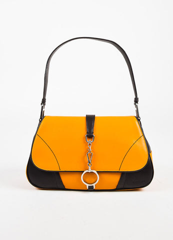 Prada Orange Brown Ring Closure Flap Shoulder Bag Front