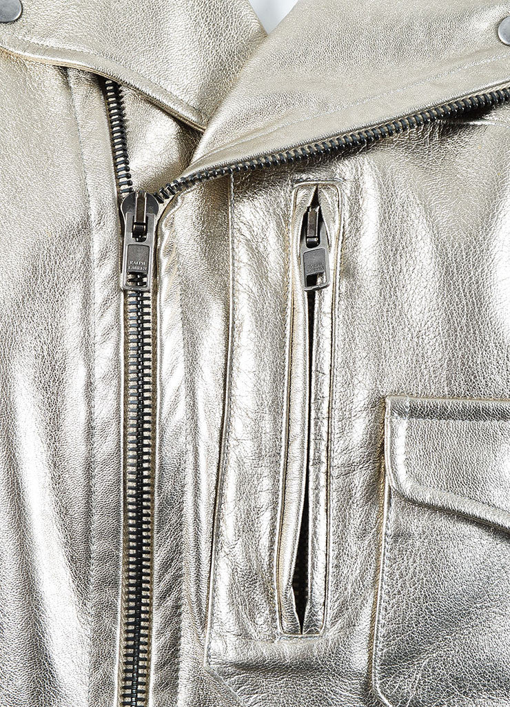 Metallic Silver Ralph Lauren Purple Label Leather Belted Jacket Detail