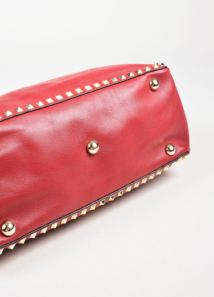 "Valentino Red Calfskin Leather ""Medium Rockstud Tote"" Bag Detail"