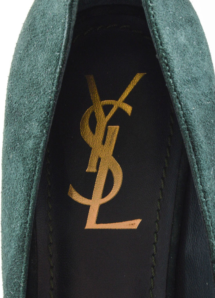 Yves Saint Laurent Dark Green Suede Platform Pumps Brand