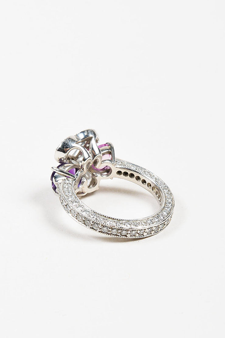 Platinum, Diamond. Pink Sapphire, and Amethyst Four Heart Ring Backview