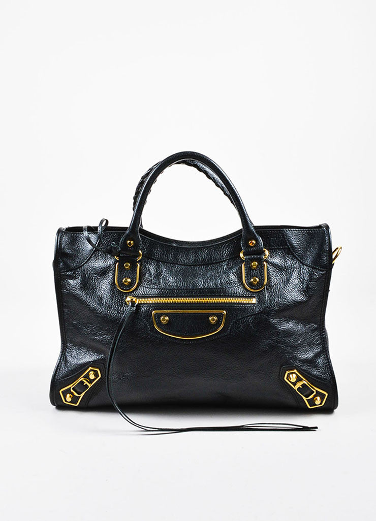 "Balenciaga Black Leather Gold Toned Hardware ""Metallic Edge City"" Shoulder Bag Frontview"