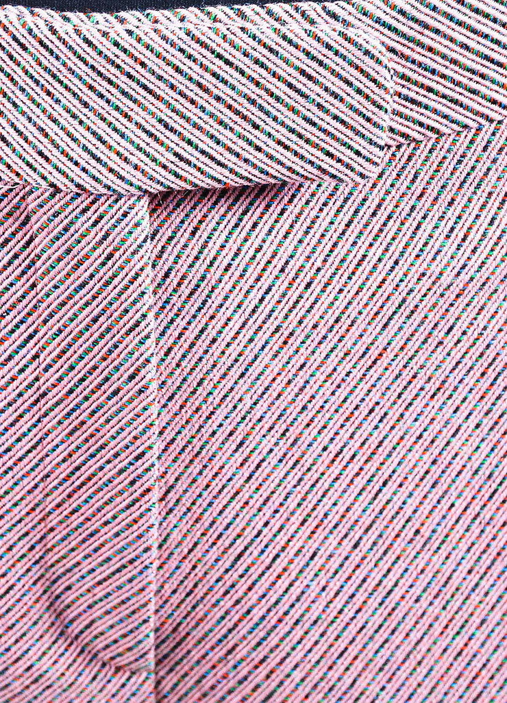 Pink and Multicolor Christian Dior Wool Stripe Wide Leg Trouser Pants Detail