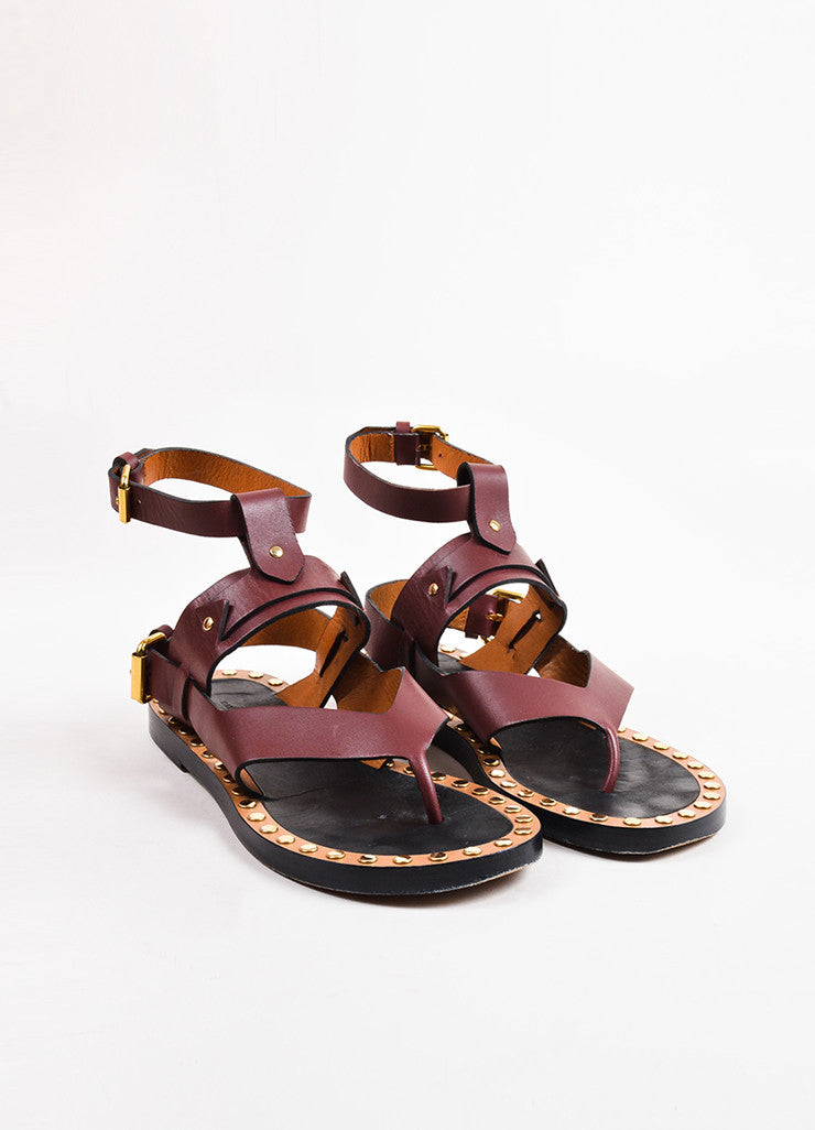 "Isabel Marant Maroon Leather Studded Flat ""Justy"" Gladiator Sandals Frontview"