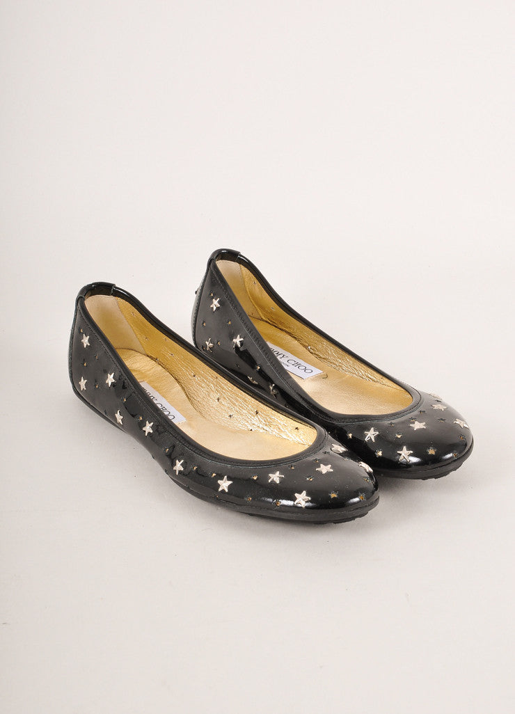 Jimmy Choo Black and Silver Toned Star Stud and Cut Out Patent Leather Flats Frontview