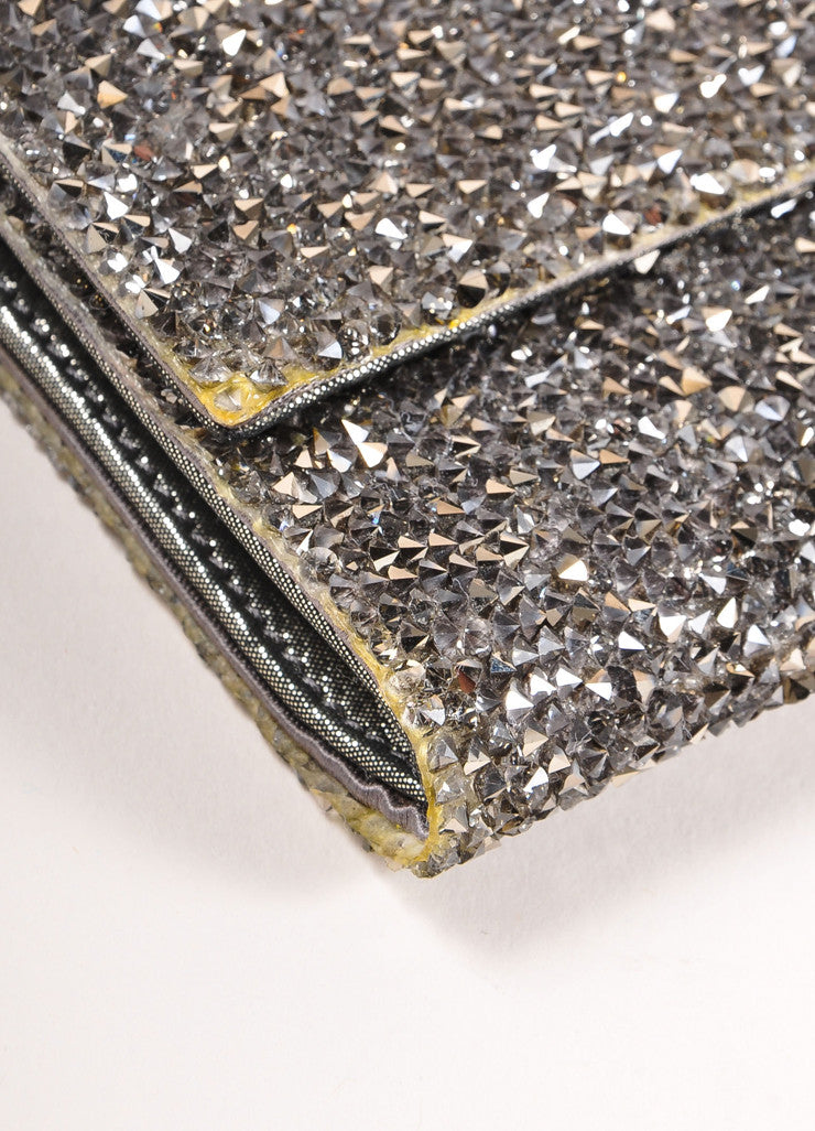 "Judith Leiber Silver Toned Satin and Crystal Encrusted ""Ritz Fizz"" Clutch Bag Detail"