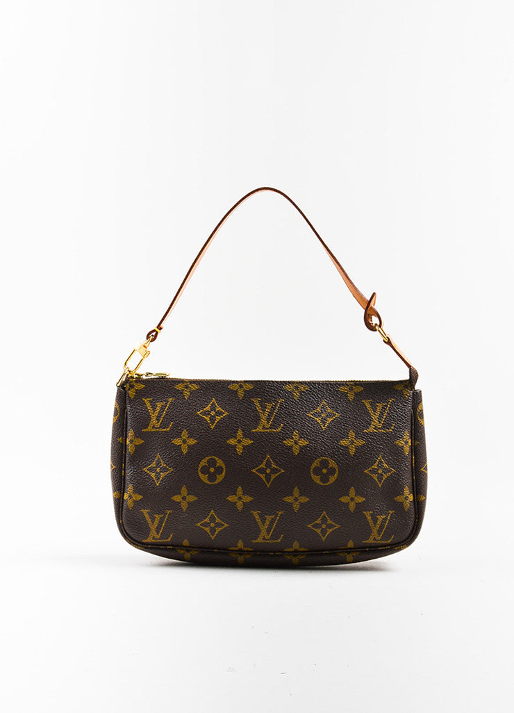 "Louis Vuitton Brown and Tan Coated Canvas Monogram ""Pochette Accessoires"" Bag Frontview"