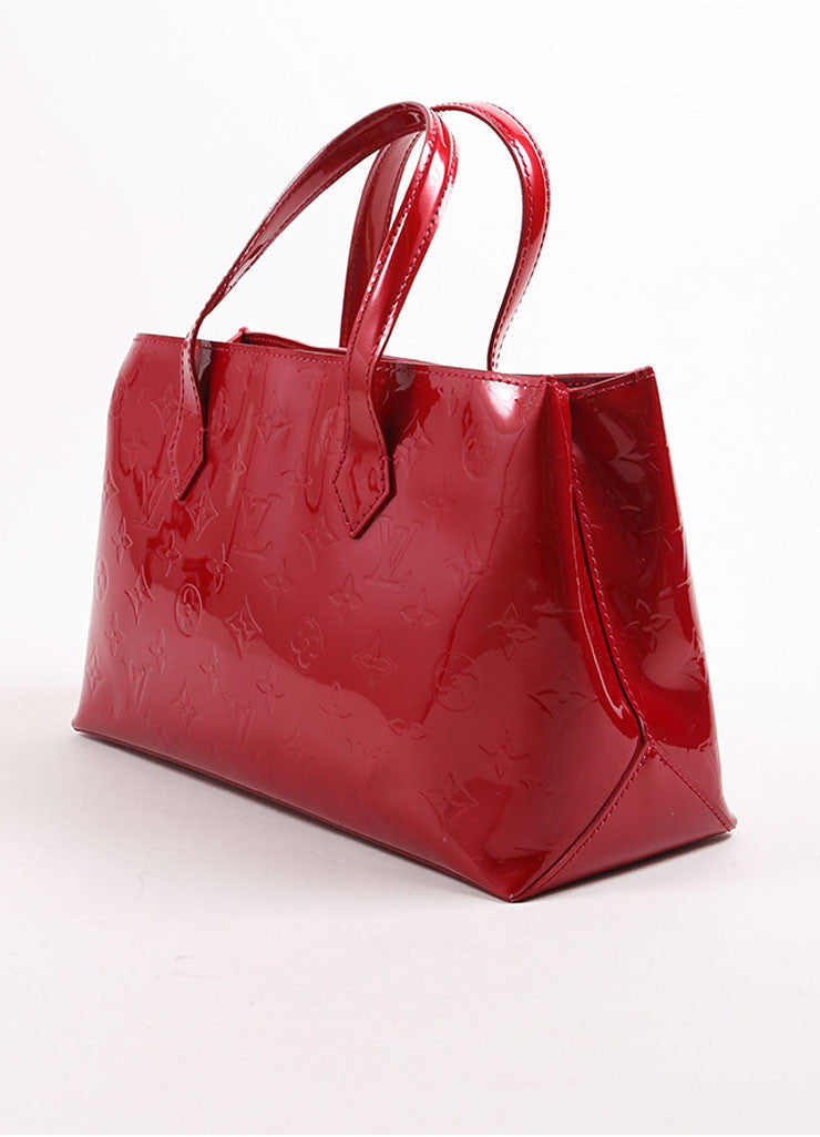 "Louis Vuitton Red Vernis Monogram Patent Leather ""Wilshire PM"" Satchel Handbag Sideview"