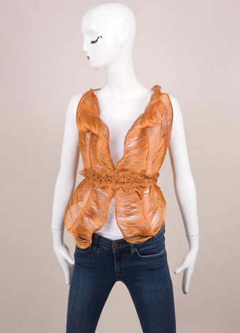 Marcia Ganem New With Tags Burnt Orange Cord Lace Vest Frontview