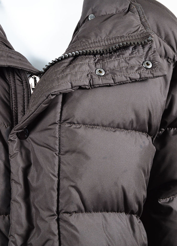 Moncler Chocolate Brown Nylon Down Quilted Puffer Coat Detail