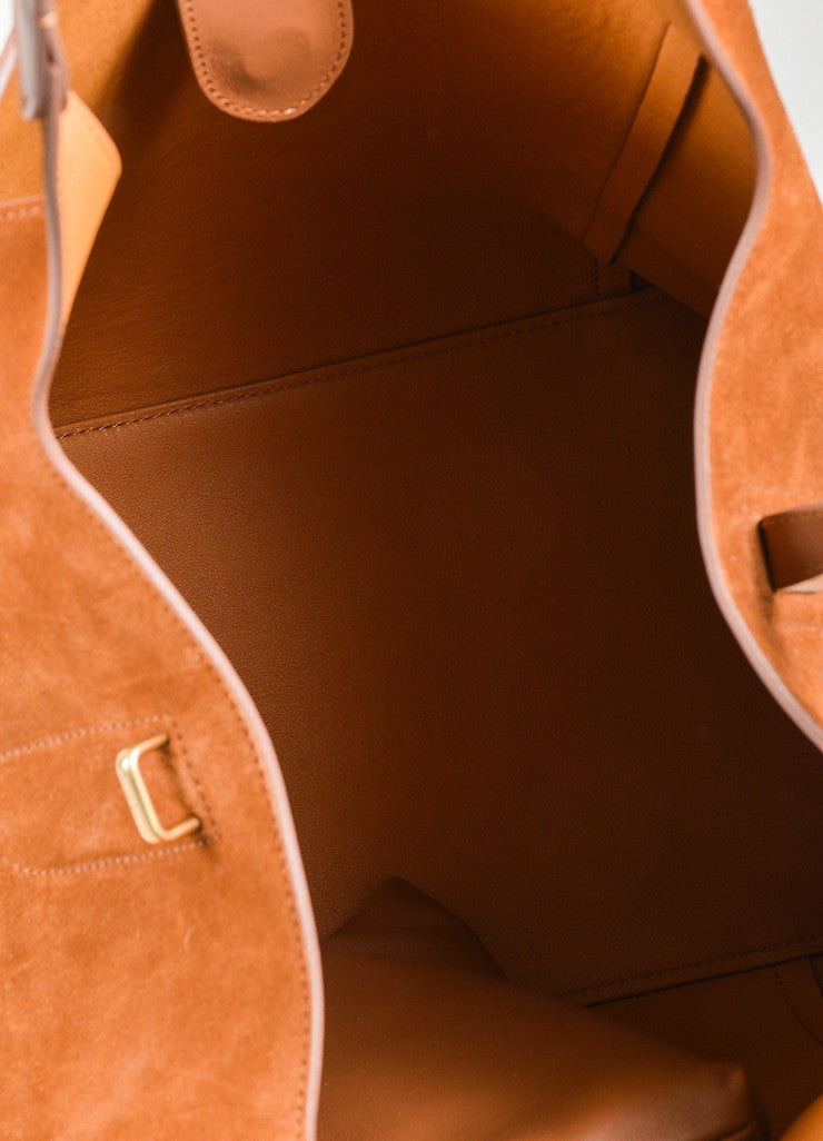 "Almond Brown Nina Ricci Suede Leather ""Faust"" Bucket Bag with Pouch Interior"