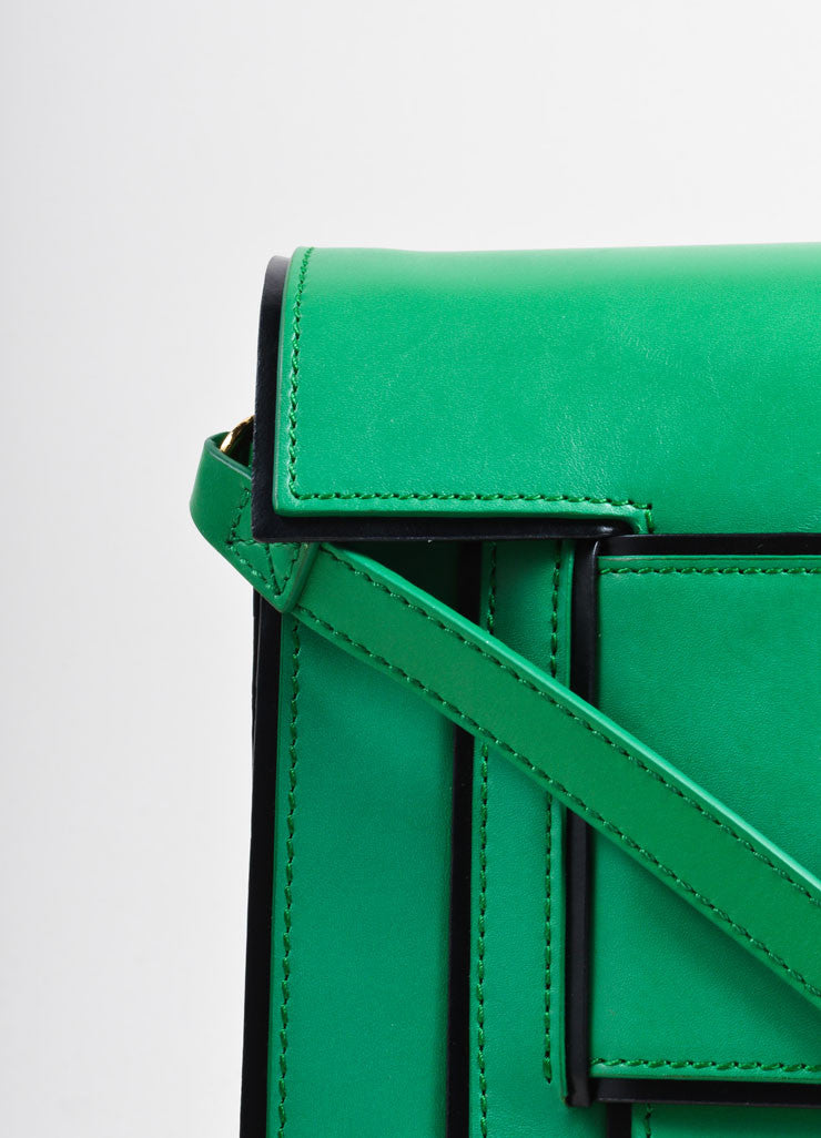 Pierre hardy Green and Black Leather Convertible Flap Clutch Bag Detail 2