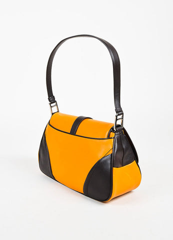Prada Orange Brown Ring Closure Flap Shoulder Bag Back