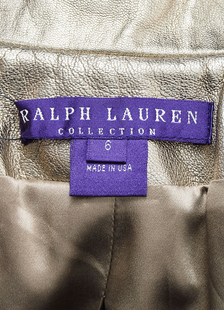 Metallic Silver Ralph Lauren Purple Label Leather Belted Jacket Brand