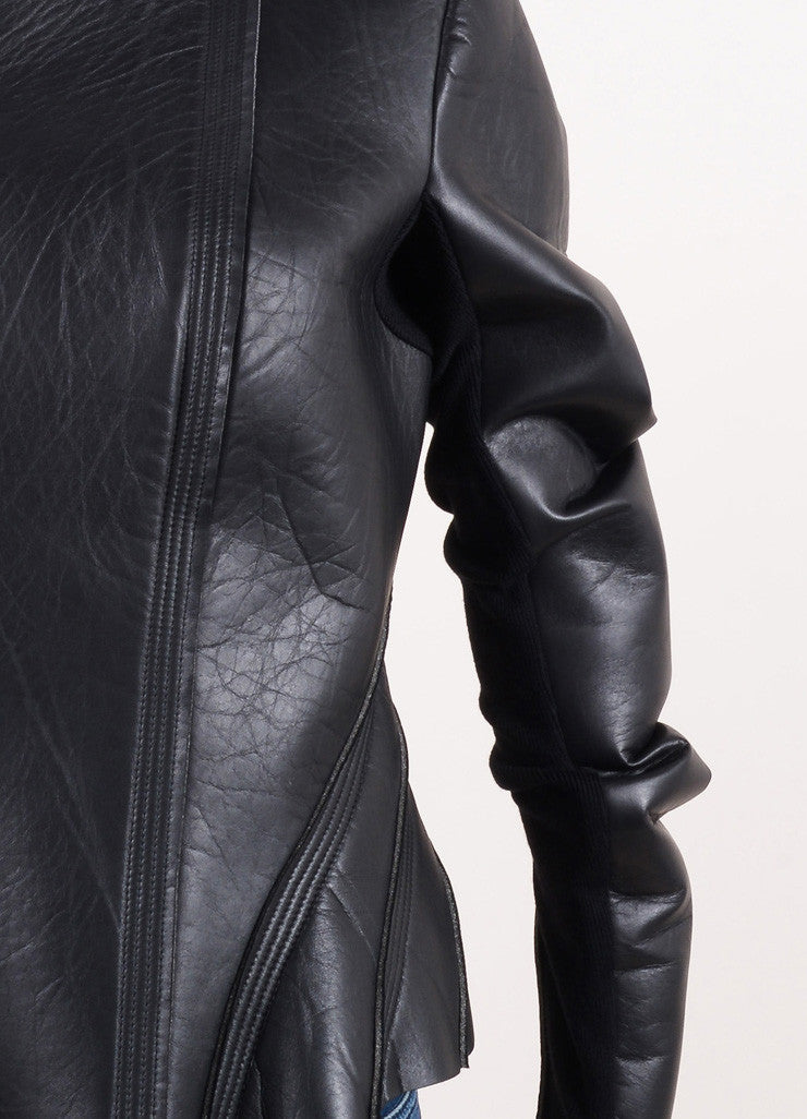 "Rick Owens Black Leather and Neoprene ""Princess"" Jacket Detail"