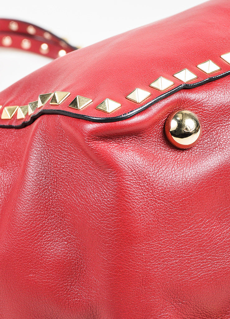 "Valentino Red Calfskin Leather ""Medium Rockstud Tote"" Bag Detail 2"