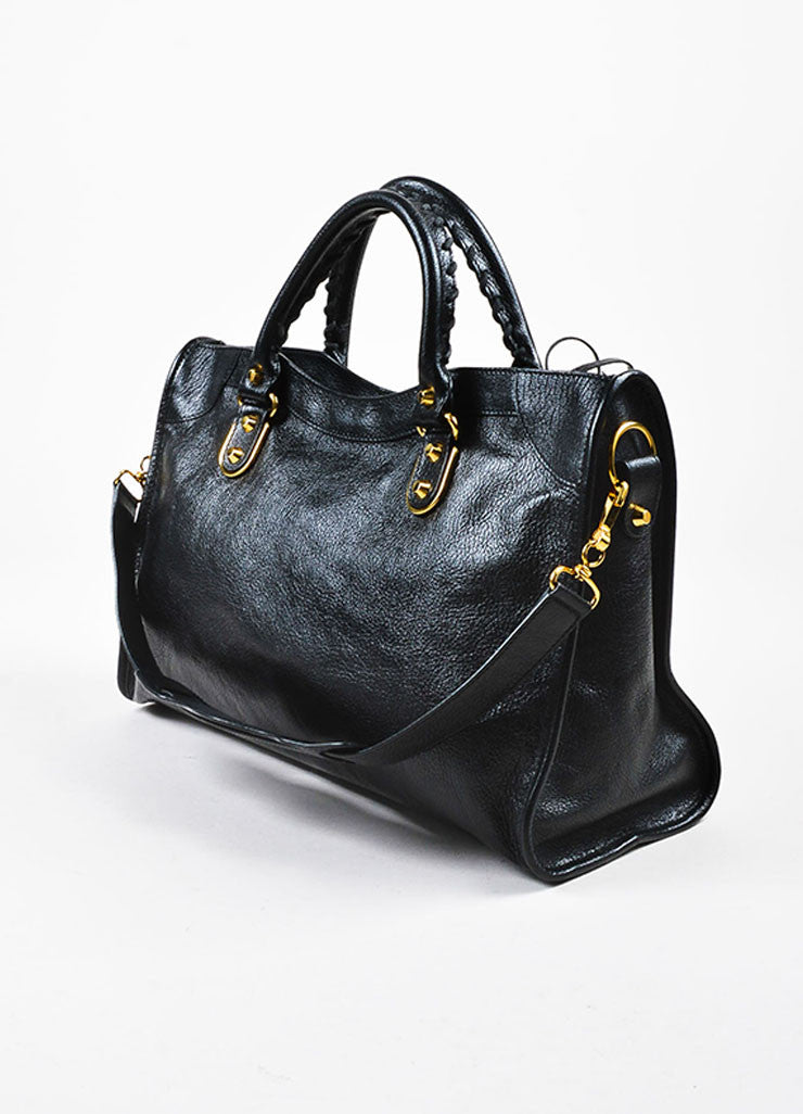 "Balenciaga Black Leather Gold Toned Hardware ""Metallic Edge City"" Shoulder Bag Sideview"