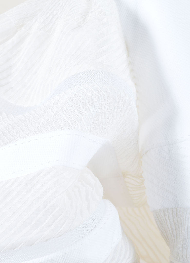 Chado Ralph Rucci White Sheer Puff Sleeve Dress Detail