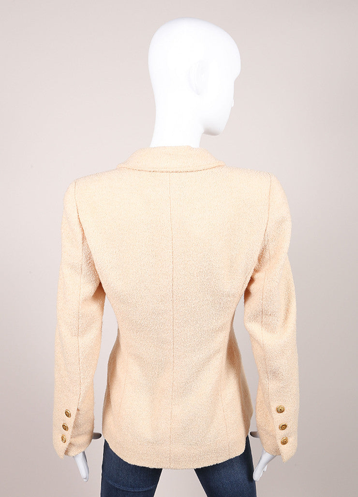 Chanel Blush Pink Wool Boucle Double Breasted Long Sleeve Pea Coat Backview