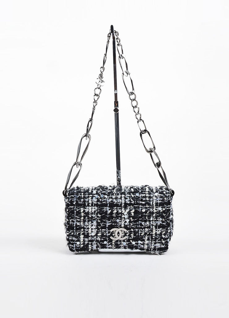 Black, White, and Grey Chanel Tweed 'CC' Logo Chain Strap Shoulder Bag Frontview