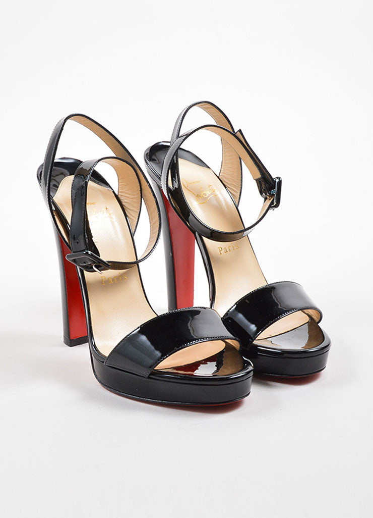 Christian Louboutin Black Patent Leather Ankle Wrap Platform Sandals Frontview